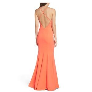 Jay Godfrey Kirani Neon Coral Gown NWT